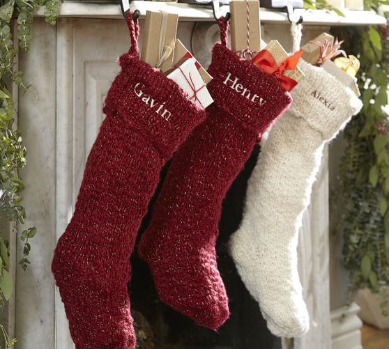 Chunky Metallic Knit Christmas Stocking, Ivory