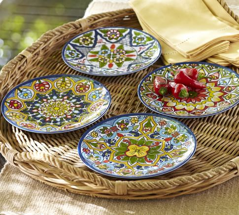 Talavera Melamine Salad Plates, Set of 4