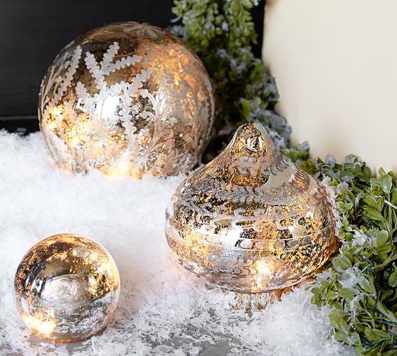Lit Etched Mercury Glass Onion Ornament