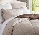 Rustic Luxe® Linen/Silk Comforter, Twin, Brownstone/Flax