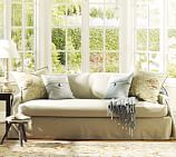PB Separate-Seat Dropcloth Linen/Cotton Sofa Slipcover, Khaki