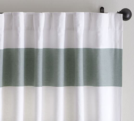 PB Classic Stripe Drape with Blackout Liner, Set of 2, 50 x 63