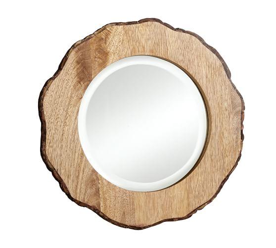 Tye Mill Round Bark Rim Mirror,Small