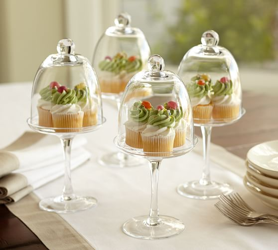 Glass Pedestal Cupcake Pastry Stand & Dome