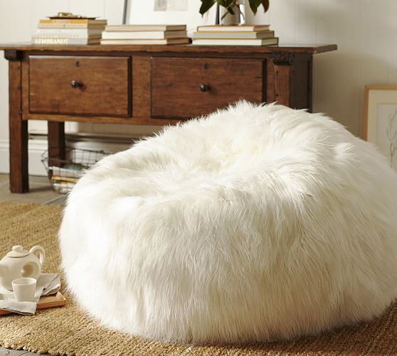 Faux-Fur Beanbag Cover, Shaggy Ivory