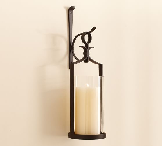 Artisanal Wall-Mount Pillar Lantern, Set of 2