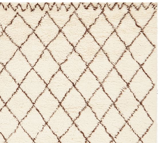 Beni Ourain Hand-Loomed Wool Rug Swatch, Ivory