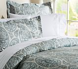 Ashlyn Paisley Organic Cotton Duvet Cover, Twin, Blue