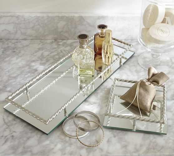 Braided Mirror Dresser-Top Tray, Square