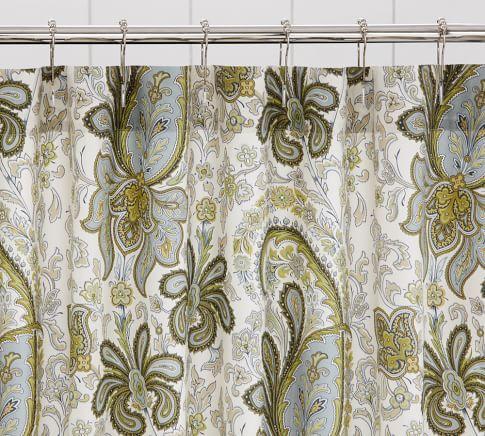 Charlie Paisley Organic Shower Curtain, Blue