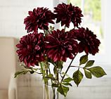 Faux Deep Red Dahlia Stem