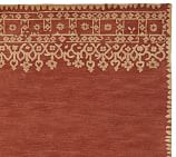 Desa Bordered Wool Rug Swatch, Terra Cotta