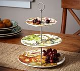 Watercolor Pumpkin Ironstone 3-Tiered Stand