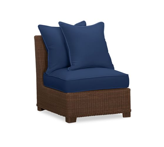 Palmetto All-Weather Wicker Armless Sectional Cushion Slipcover, Outdoor Canvas, Ink Blue
