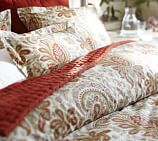 Charlie Paisley Organic Duvet Cover, Full/Queen, Red