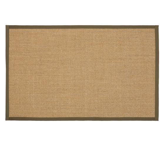Color-Bound Natural Sisal Rug, 5x8', Tobacco Border