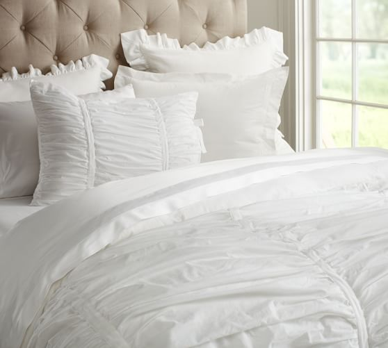Hadley Ruched Duvet Cover, Full/Queen, White