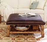 Caden Equestrian Upholstered Square Ottoman, Leather Chocolate