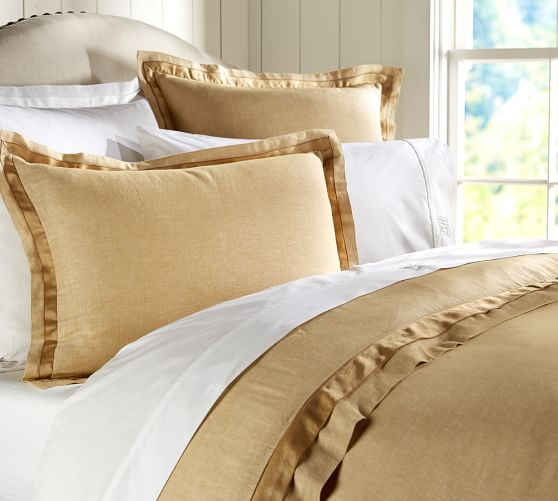 Linen with Silk Trim Duvet Cover, Full/Queen, Wheat