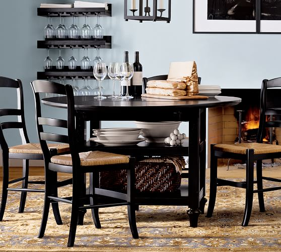 Shayne Round Drop-Leaf Kitchen Table & Isabella Chair Set, Black