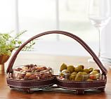 Saddle Leather Double Snack Bowl