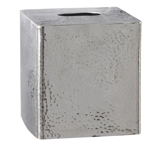 Hammered Nickel Tissue Box Cover, Polished Nickel finish