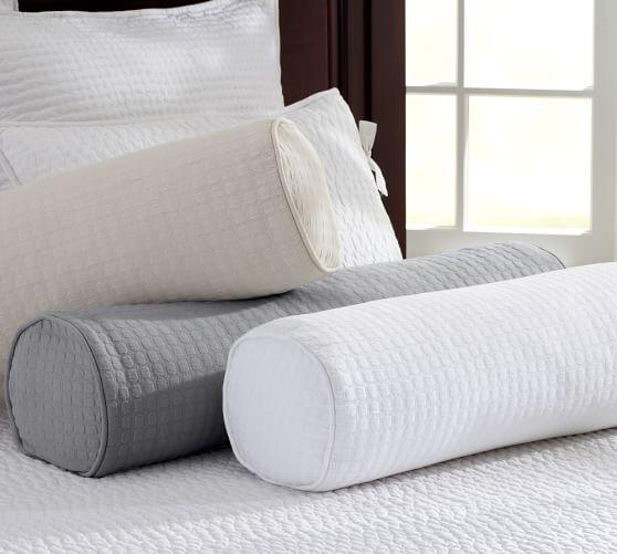 Cameron Organic Cotton Matelasse Bolster Pillow Cover, 8 x 30