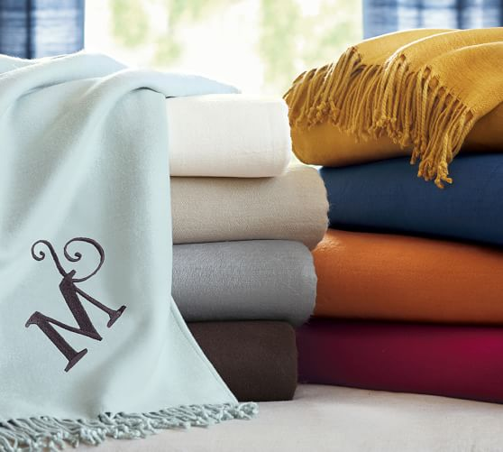 Monogrammable Oversized Throw, Ivory