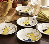 Graphic Reindeer Appetizer Plates, Set of 4, Set 1 (Dasher, Dancer, Prancer, Vixen)
