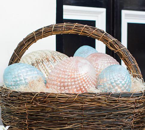 Pink Luster Mercury Glass Patterned Egg, Medium