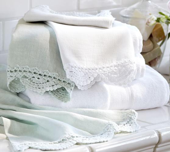 Crochet Trimmed Guest Towels, Set of 2, Blue