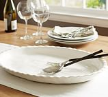 Napoli Handcrafted Ceramic Oval Serving Platter, White