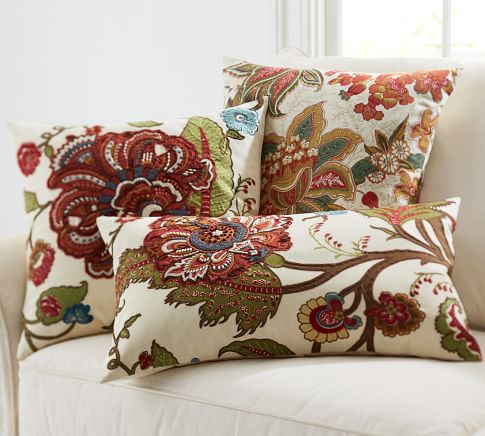 Riley Floral Embroidered Lumbar Pillow Cover, 16 x 26