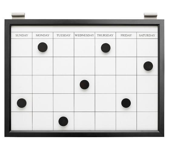 Magnetic Whiteboard Calendar, Black