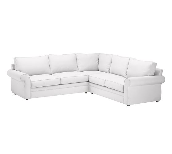 Pearce Upholstered 2-Piece L-Shaped Sectional, Down Blend Wrapped Cushions, Twill White