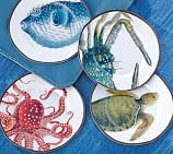 Playa Sea Life Melamine Salad Plates, Mixed Set of 4