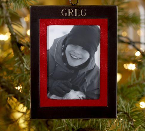 Monogrammable Grosgrain Frame Ornament, Bronze finish