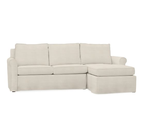 Cameron roll arm slipcovered sofa with reversible chaise for Albany sahara sectional sofa chaise