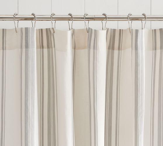 Evan Stripe Shower Curtain, Gray