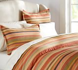 Logan Stripe Duvet Cover, Full/Queen, Red Multi