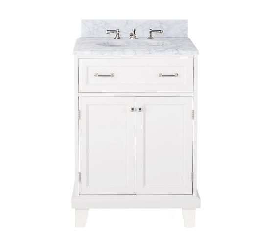 Modular Classic Mini Single Sink Console with Doors, Straight Leg, Carrara Marble