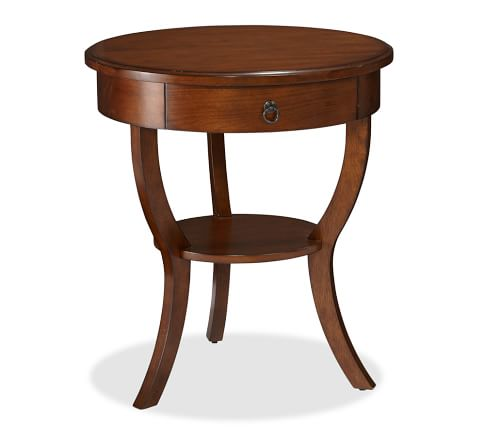 Carrie Pedestal Bedside Table, Mahogany finish