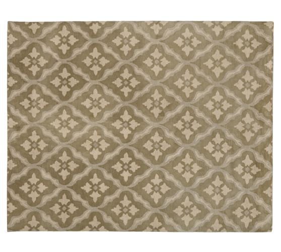 Misha Diamond Wool Rug, 2.5x9', Green