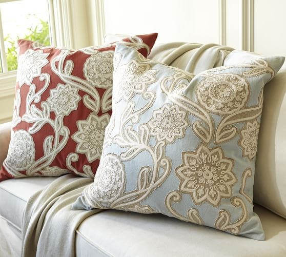 Embroidered Throw Pillows Pottery Barn : Leah Floral Embroidered Pillow Cover, 24