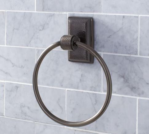 Ella Hammered Metal Towel Ring, Antique Bronze finish
