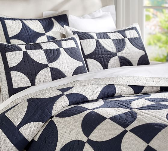 Navy Circles Patchwork Quilted Sham, King
