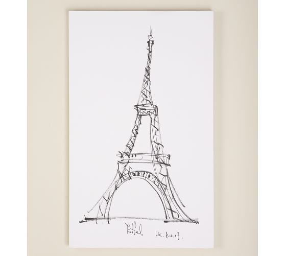 Stretched Canvas Artwork, Eiffel Tower, 22 x 36