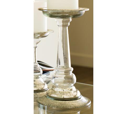 Evleen Clear & Mercury Glass Pillar Holder, Medium