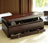 Saddle Leather Jewelry Box Valet, Chocolate
