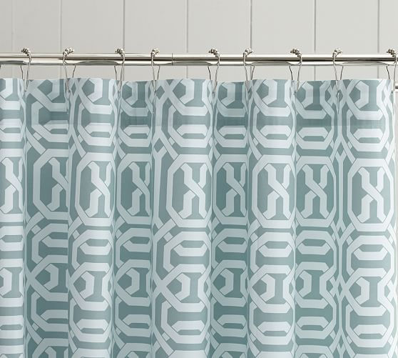 Terri Trellis Shower Curtain, Porcelain Blue
